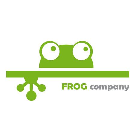 rana caricatura: Vector compañía de la muestra de la rana