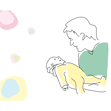 Vector drawing abstract father with baby Illustration