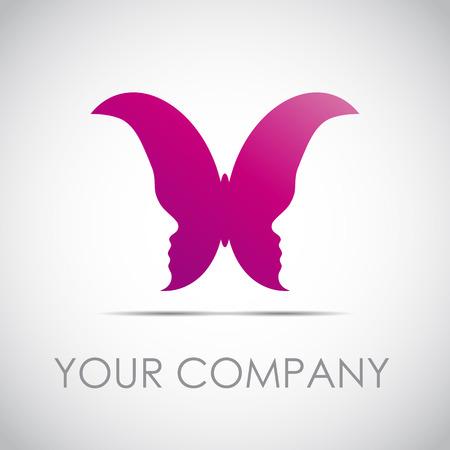 femme papillon: Signe vecteur papillon avec des visages de filles