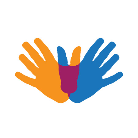 group icon: Vector sign teamwork, hands crossed