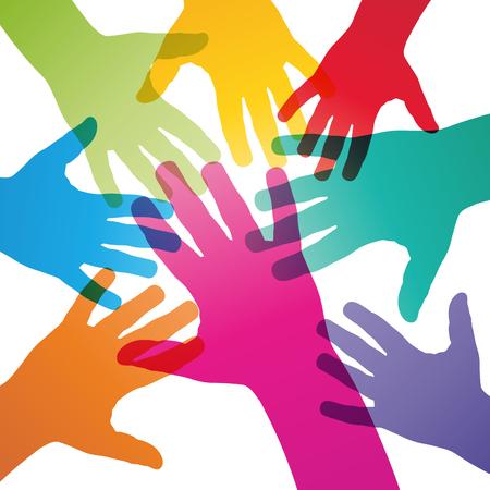 mani incrociate: Vector sfondo il lavoro di squadra, mani incrociate