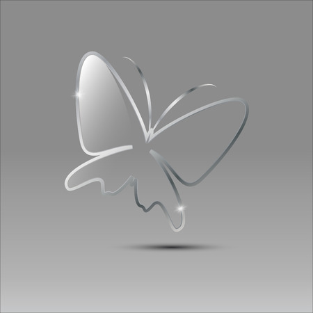 Vector sign Butterfly glass and metal