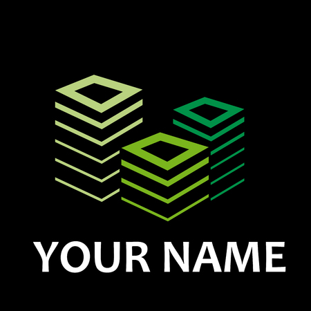 green building: Vector sign property developer, house and city