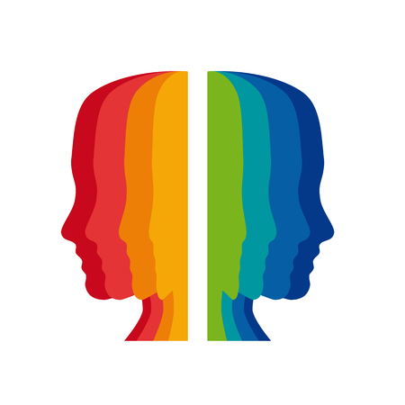Vector sign psychologist, colored heads Иллюстрация