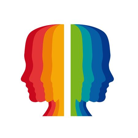 psicologia: Vector signo psic�logo, cabezas de colores Vectores