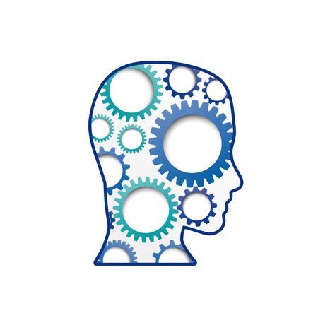 ingenuity: Vector sign Gear in head Illustration