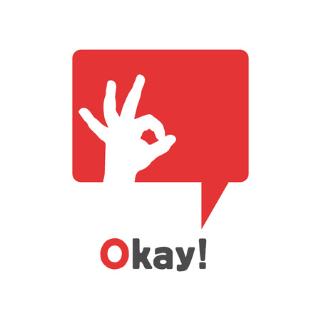 ok: Vector sign speak, cloud with okay