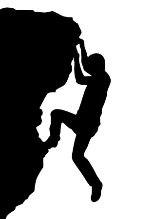 man climbing: Vector silhouette rock climber, successful concept