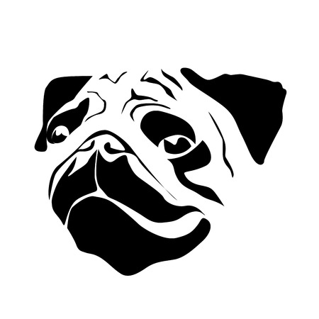 pug puppy: Vector sign head of dog