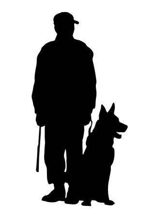 perro policia: Vector silueta adiestrador de perros