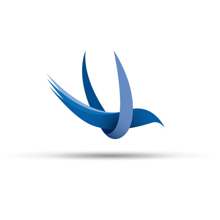 blue design: Vector sign abstract  bird in flight