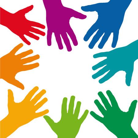 convergence: Vector background teamwork, hands crossed