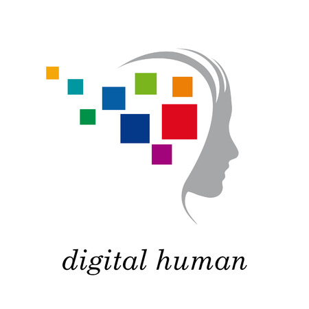 and future vision: Vector Regístrate generación digital, cabeza y pixel