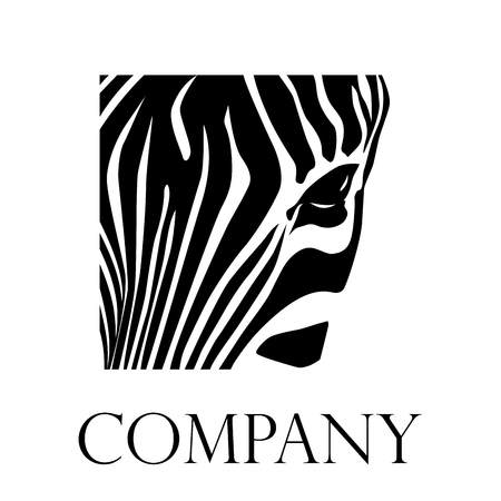 head icon: Vector sign Closeup zebra Illustration