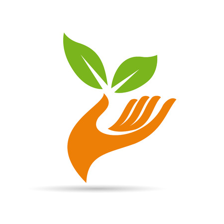 plant hand: Vector sign friendly environment, hand and leaf