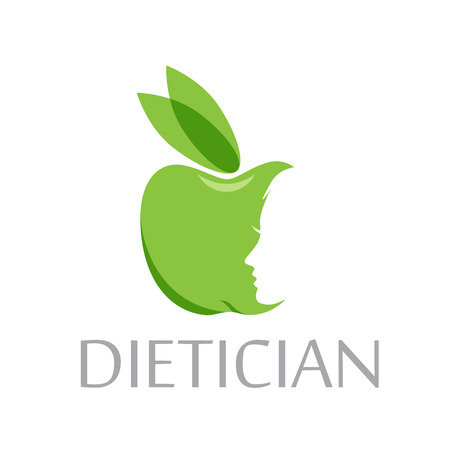 dietician: Vector sign diet, dietician. Green apple