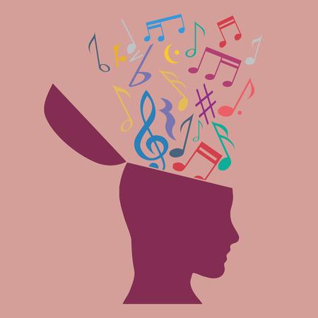 terapia psicologica: Concepto de terapia de música, notas musicales en la cabeza. Diseño plano