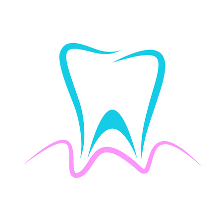 blue tooth: Vector sign dentist, blue tooth and pink gingiva