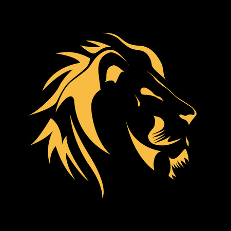 courage: Vector sign  Lion, strength and courage concept