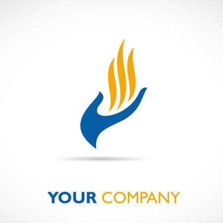 Vektor-Zeichen Hand und Flamme Standard-Bild - 47821267