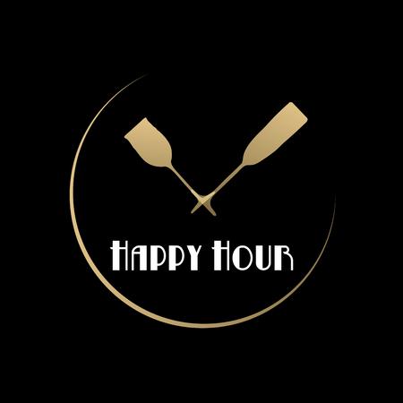 Vector sign Happy hour, restaurant