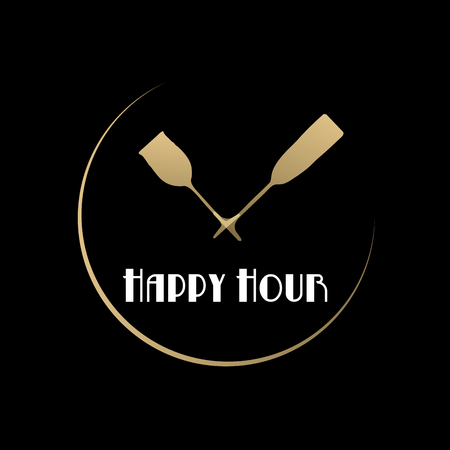 hour: Vector sign Happy hour, restaurant