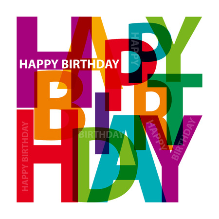 birthday card: Vector happy birthday. Broken text