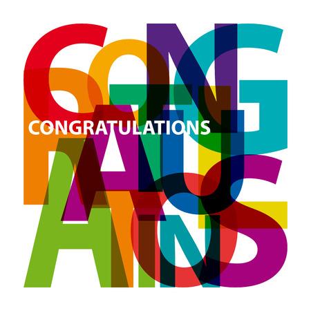 congratulations: Felicitaciones Vector. Texto roto