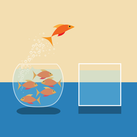 goldfish jump: Goldfish jumping out of water. Vector flat design