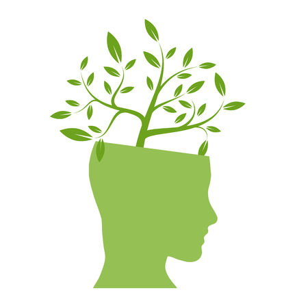 balance icon: Vector person ecological, think green Illustration