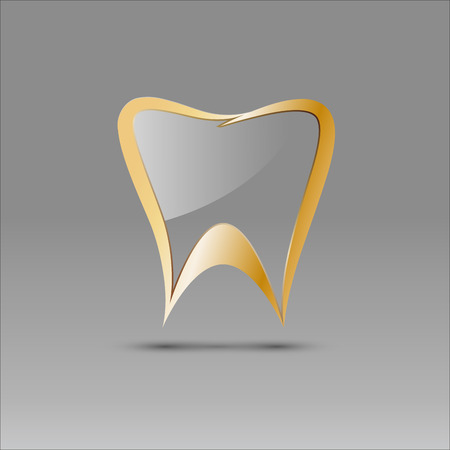 glass reflection: Vector sign tooth in glass Illustration