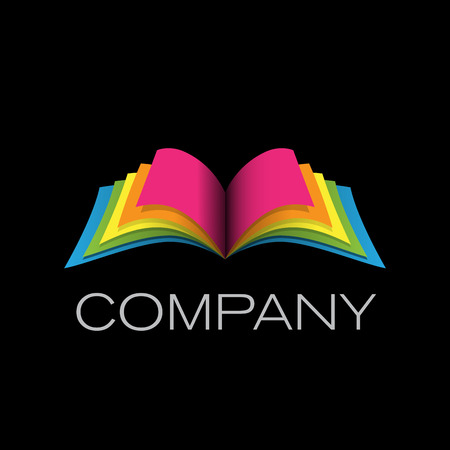 open book icon: Vector sign book on black background