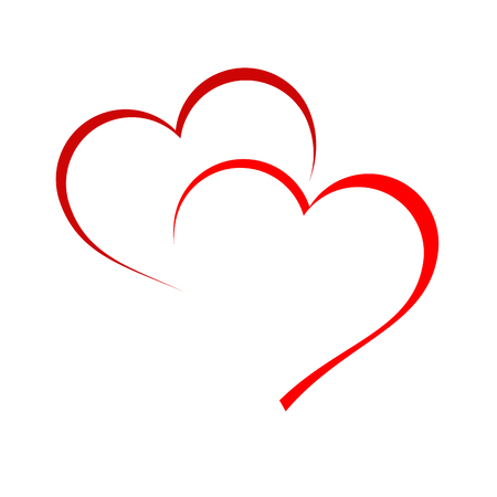 romantic heart: Vector sign two hearts