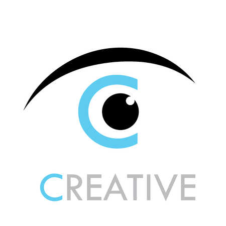 spying: Vector sign eye with  letter C of Creative Illustration