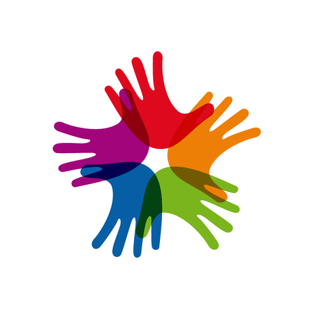 mani incrociate: Segno vettoriale lavoro di squadra, mani incrociate Vettoriali