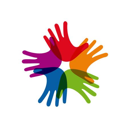 sinergia: Vector firmar el trabajo en equipo, las manos cruzadas