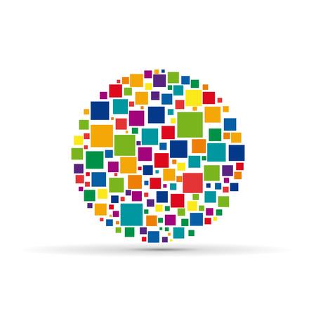 ベクトル正方形の背景、革新的で大きなデータ ネットワークの概念