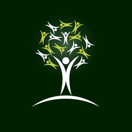 solidaridad: Vector �rbol signo de solidaridad, fondo verde Vectores