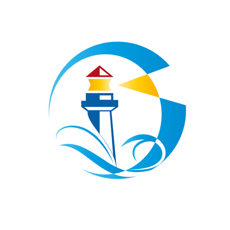 reference point: Vector sign lighthouse on white background Illustration