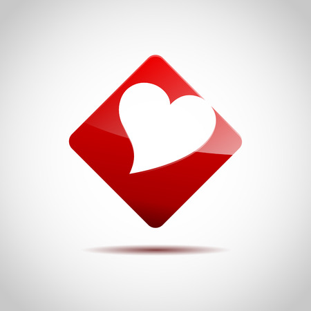 unusual valentine: Vector sign red hearth inside square Illustration