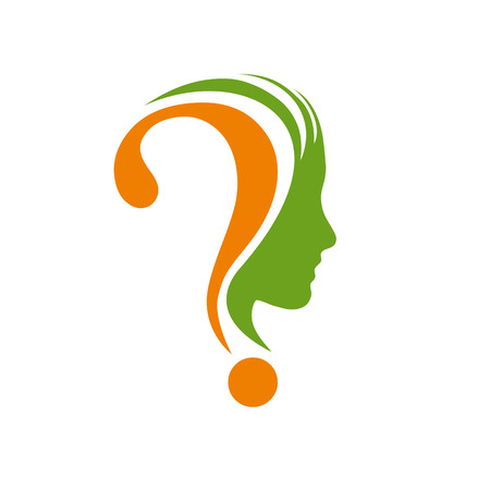 women thinking: Muestra del vector signo de interrogaci�n en la cabeza