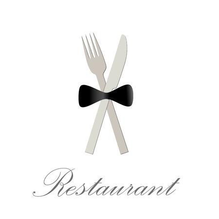 butterfly knife: Vector sign restaurant deluxe