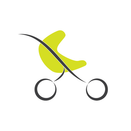 pediatrics: Vector sign green stroller, child born Illustration