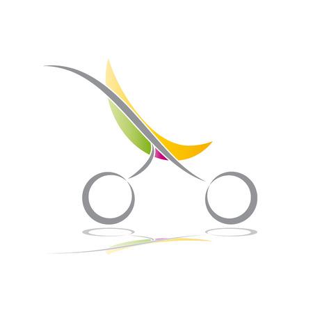 Vector sign green stroller, child born Illustration