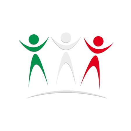 solidaridad: Vector firmar la solidaridad italiana y mexicana Vectores