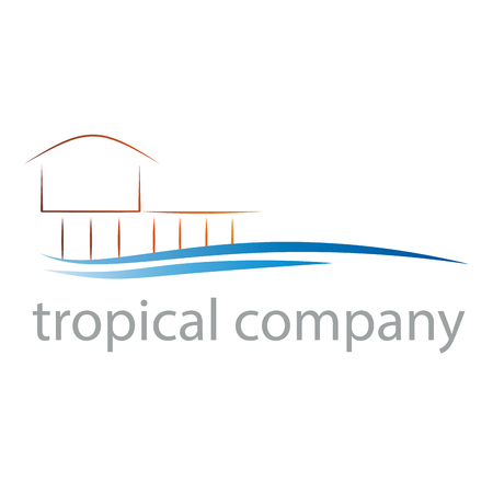 Vector sign resort, holidays in the tropics