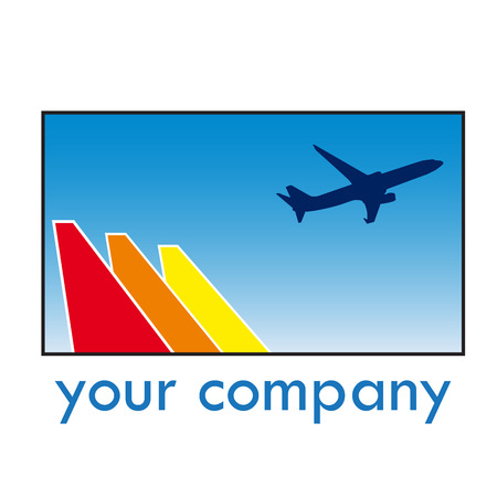 takeoff: Vector sign travel, airplane in takeoff Illustration