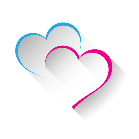 romantic love: Vector sign two hearts
