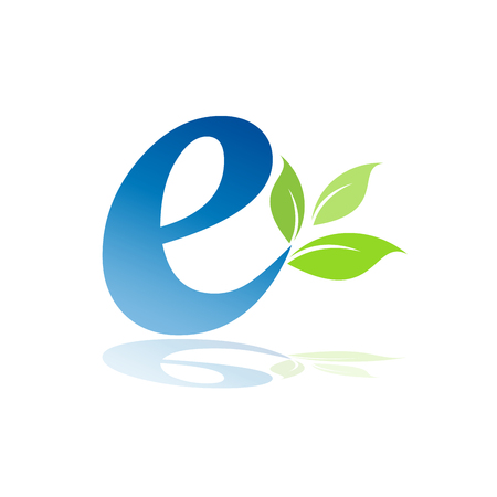 echo: Vector sign initial letter E, ecological Illustration