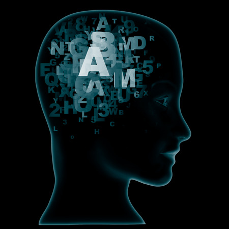 pronunciation in letters: Abstract thought, mind with alphabet